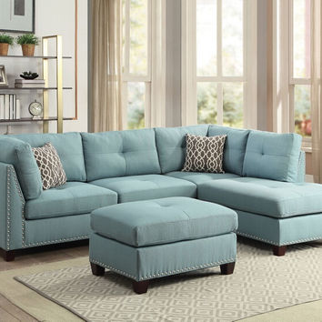 Acme 54395 3 pc Laurissa light teal linen fabric sectional sofa and ottoman