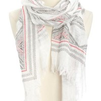 Lightweight Printed Fringe Scarf by Charlotte Russe