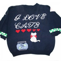 """I Love Cats"" Tacky Ugly Sweater/Cardigan Women's Size Medium (M)"