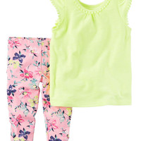 2-Piece Neon Tank & Capri Legging Set