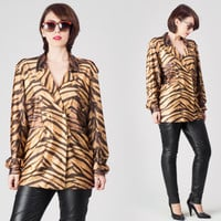 70s Animal Tiger Print Jacket / Double Breasted Shimmery Knit Polyester Jacket / Glam Rocker 80s Kitsch Large L Jacket