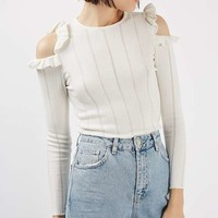 PETITE Frill Cold Shoulder Top - Sweaters & Knits - Clothing