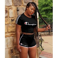 Champion Fashion new high quality casual shorts women letter print two piece