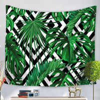 Tropical Leaves Print TapestryFor Women-romwe