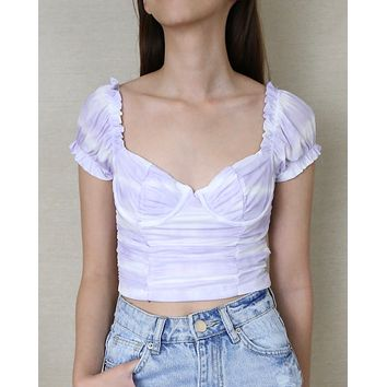 Talia Tie Dye Ruched Mesh Puff Sleeve Top in Lavender