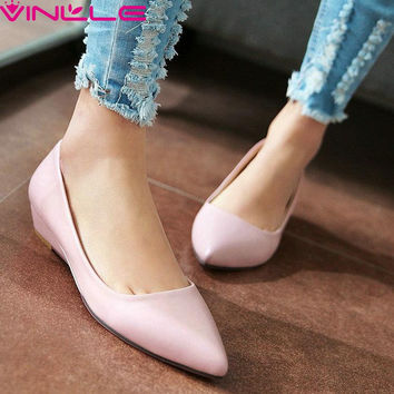 big size 11 12 candy color  Pink Slip On Women Pumps Wedges Heels Pointed Toe Pu Soft Leather Autumn/Spring Girl Office Shoes