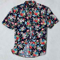 CPO Navy Rose Floral Print Short-Sleeve Button-Down Shirt