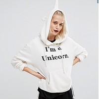 The unicorn white turtleneck printed Hoodie