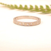 Art Deco Wedding Band, Old Cut Diamonds, Lovely Leafy Engraving Eternity Band, Solid 18K White Gold, Great Condition, Circa 1920s to 1930s
