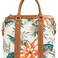 Sole Society Floral Print Tote - White