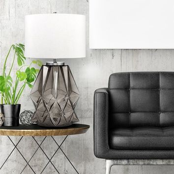 """Catalina Lighting Abyss 32.25"""" Contemporary Shark Grey Faceted Glass & Metal Table Lamp w/ Shade & 3-way Switch, 20903-000 
