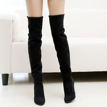 Fashion Women Over the Knee Boots Winter Shoes Woman Warm Fur Lining Knee High Boots 2014 Plus Size (US Size) = 1931656324