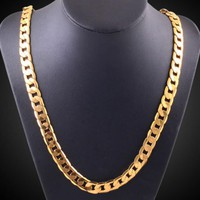 Men Fashion Luxury Filled Curb Cuban Link Gold Necklace Jewelry Chain