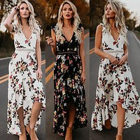 Thefound Hot Women Vintage Boho Long Maxi Dress Party Beach Dress Floral Sundress Summer