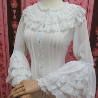 Retro Style Long Flare Sleeve Lolita Lace Blouse Women's Plus Size Chiffon White Shirt with Layered Lace Ruffles