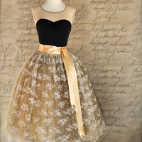 Cream lace and gold tulle skirt for women. Weddings, special occasion lined tutu skirt.