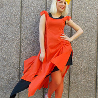 Orange Double Layer Dress / Cotton Layered Dress / Asymmetrical Layered Dress / SUMMER 2015