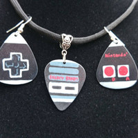 Classic video game controller inspired necklace and earring set