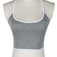 Gray Halter Tight Crop Tank Top