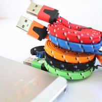 5 color available iPhone 5/5s, iPad mini Charger Sync USB Fabric Braided Cable Neon Cord