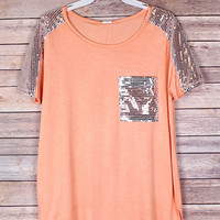Peach Pocket Tee with Silver Sequins