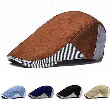 Men's Cabbie Newsboy Golf Style Assorted Colors Strip Peaked Cap Beret Hats