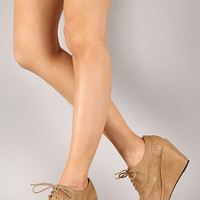 Miller-01 Perforated Lace Up Oxford Wedge Bootie
