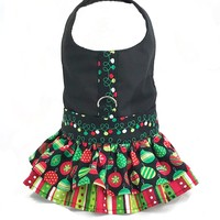 Christmas Print Ruffled Dog Cat Vest Harness, M/L only