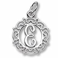 Initial E Charm In Sterling Silver