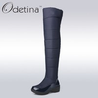 Odetina Warm Cotton Snow Boots Black Over The Knee Long Boots Womens Thigh High Boots Waterproof Fashion Ladies Winter Shoes