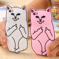 Phone Cases For Apple iPhone 6 6s / Plus / 5 5s Case Cute Cat 3D Cartoon Animals Rock Soft Silicon Cover Girly For Iphone6 4.7""