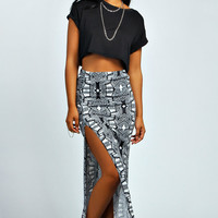 Jules Monochrome Tribal Rouched Maxi Skirt