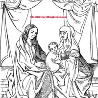 virgin mother mary baby jesus Coloring Page printables digital download art lady madonna line art Craft coloring book digital stamp