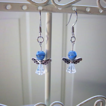 Platinum Plated Blue Pixie Earrings Fantasy Woodland Jewelry