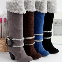 Plus size 34-43 Winter Long Knee Snow Boots for Women High Heels Buckle Round Toe Platform Fur Shoes = 1932884356