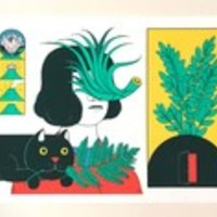 Plants and a Cat (size A3) • Cristina Daura • Tictail