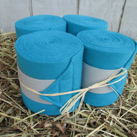 Set of 4 Polo Wraps for Horses- Teal/Turquoise with Light Grey Velcro Closure