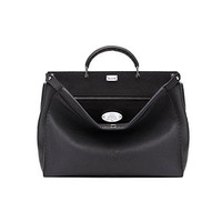 Fendi Peekaboo Black Roman Calf Leather Handbag Made in Italy
