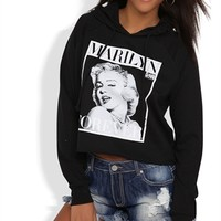 Long Sleeve French Terry Hoodie with Marilyn Monroe Screen