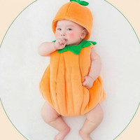 Newborn Baby Photography Props Infant Baby Soft Sweet Cute Pumpkin Modeling Clothes Costume Set Coverall + Hat (Color: Orange) = 1845636356