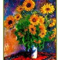 Sunflowers inspired by Claude Monet's impressionist painting Counted Cross Stitch Pattern