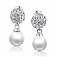 Shell Pearl W. Round Cubic Zirconia Earrings