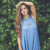 Knitted Shift Dress in Blue