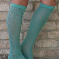 Mint Knee High Knit Socks