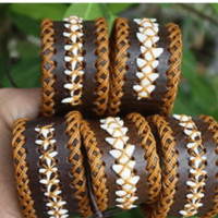 Brown Leather Bracelet with Shark Teeth