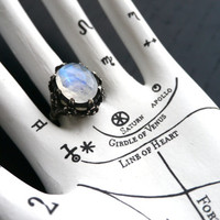 Galactic Forest Ring - Moonstone and Sterling Silver