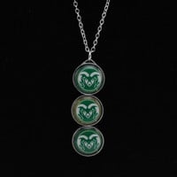 Colorado State Rams 3 Drop Glitter Necklace - http://www.shareasale.com/m-pr.cfm?merchantID=7124&userID=1042934&productID=520980754 / Colorado State Rams
