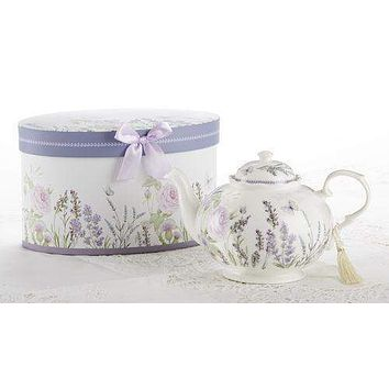 Lavender and Rose Porcelain Teapot in Gift Box
