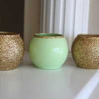 Mint Green Vase, Gold and Mint Green Vase, Wedding Centerpiece, Party Centerpiece, Mint Green Centerpiece, Gold Centerpiece, Green Vase,