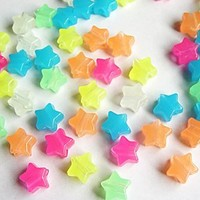JOLLY STORE Crafts Glow In The Dark Star Pony Beads 100pc